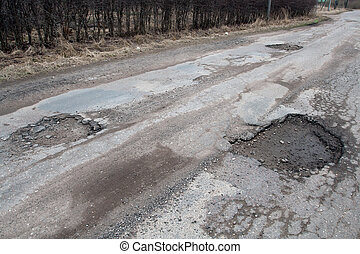 Damaged asphalt road after winter - Damaged asphalt pavement...