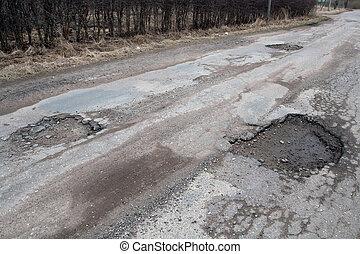 Damaged asphalt road after winter. - Damaged asphalt...