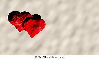 3d hearts on snow