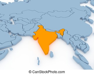 Three-dimensional map of India isolated. 3d