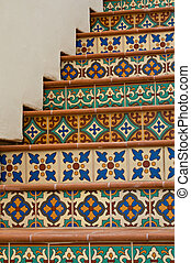 Tiled Staircase - Colorful staircase featuring Mexican...