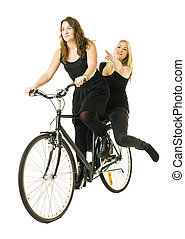 Girls on bicycle