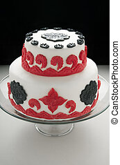 Fondant Cake - Double tiered cake with white red and black...