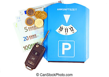 parking meter and car key with money