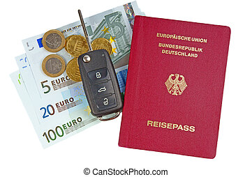 passport and money with car key