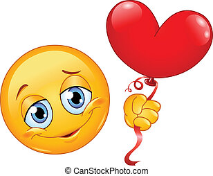 Emoticon with heart balloon - Emoticon holding a heart shape...