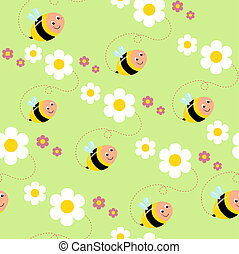 texture with bees and flowers