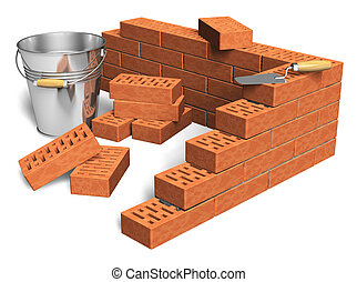 Construction industry concept: fragment of red brick wall,...
