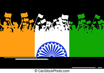 Indian Patriotism - illustration of Indian citizen waving...