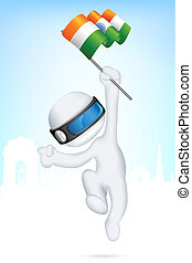 3d Man in Vector with Indian Flag