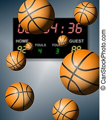Basketball score - A group of basketballs suspended in the...
