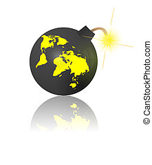 End of the world. Bomb with earth map