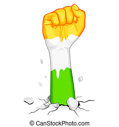 Powerful India - illustration of indian flag colorfist...