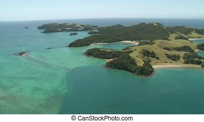 Aerial Urupukapuka Island - Helicopter flight over one of...
