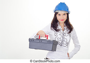 Proper tool - Young business woman chooses the proper tool
