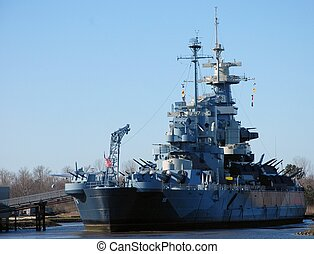 Battleship - The battleship North Carolina at her dock ready...
