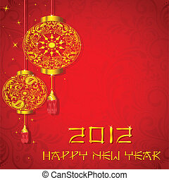 Chinese New Year - illustration of golden lantern on chinese...