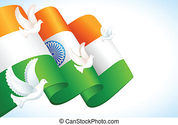 DOve flying on Indian Flag - illustration of dove flying...