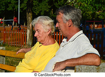 Elderly couple 60s relaxing - Elderly couple 60s sitting and...
