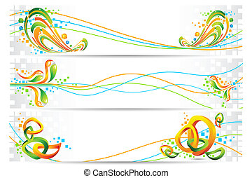 Colorful Tricolor Banner - illustration of colorful banner...