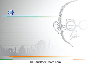 Mahatma Gandhi on Indian City scape - illustration of...