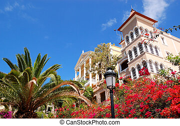 Luxury hotel decorated with flowers, Tenerife island, Spain