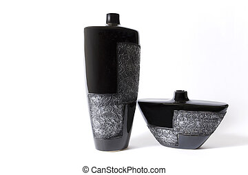 Modern black empty flower vase with ornate metallic pattern