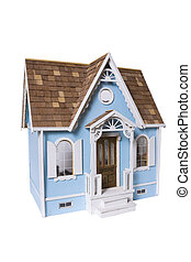 Realistic looking wooden dollhouse isolated on white with...
