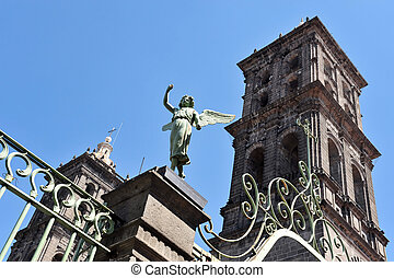 Puebla City Buildings in Mexico - Church and angel monument...