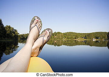 Calm lake water shot in muskoka cottage country ontario