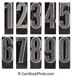 metal type numbers isolated - a full set of ten arabic...