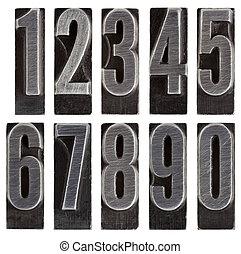 métal,  type, nombres, isolé