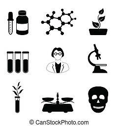 vetenskap, biologi, kemi, ikon, sätta