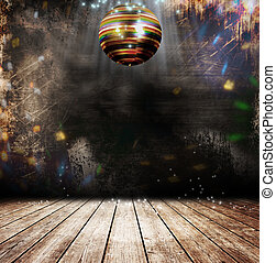 Grunge disco ball - Disco ball in a old room