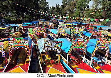 Mexican Gondolas, Mexico - Colourful Mexican gondolas at...
