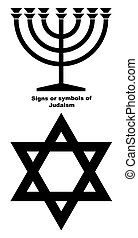 Signs or symbols of Judaism - Jewish Menorah candlestick and...