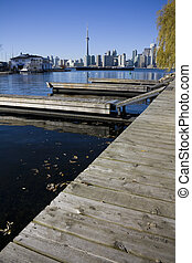View of toronto from toronto island with docks in the...