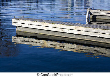 Wooden docks in calm water