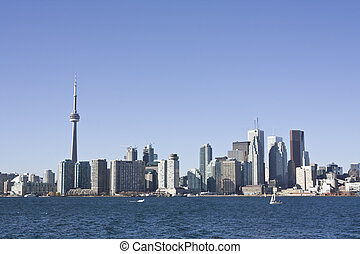 Toronto skyline during the day as seen from on board the...