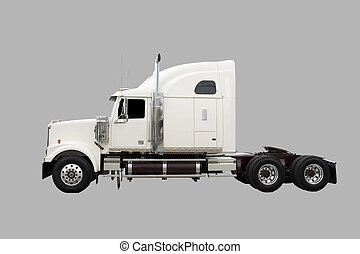 Cream coloured transport truck isolated on grey
