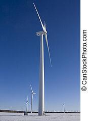 Wind Turbine in snowy field - Wind turbine in snowy field...