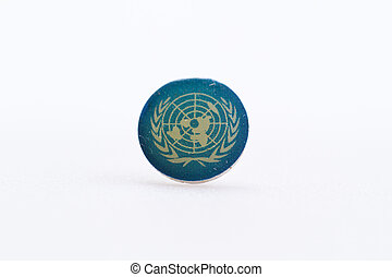 United Nation on Thumbtack - United Nation flag symbol on...