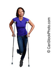 Black Woman on Crutches - A beautiful African American black...