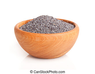 poppyseed in the wooden bowl. - poppyseed in the wooden...