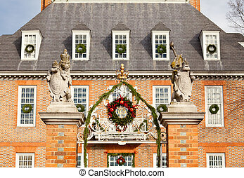 Entrance to Governors palace in Williamsburg - WILLIAMSBURG,...