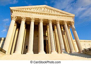 US Supreme court - Late afternoon winter sun illuminates...