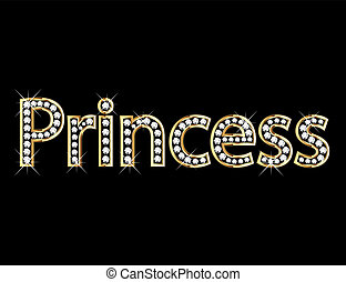 Princess letter gold and diamonds bling bling