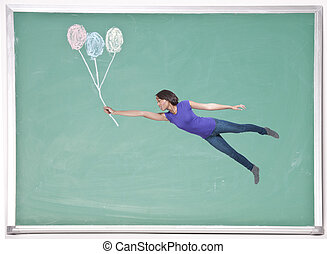 Woman Floating with Chalk Balloons - A beautiful young woman...