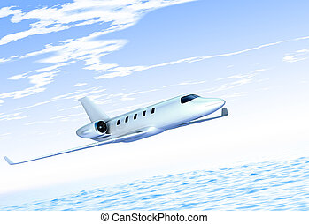 Jet plane - cg jet plane fly above water