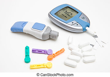 Diabetes Supplies - Glucose Monitor, lancet, strips, spare...